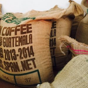 Hessian coffee sacks at the Quest Coffee Roasters warehouse where we roast all our coffee beans to perfection.