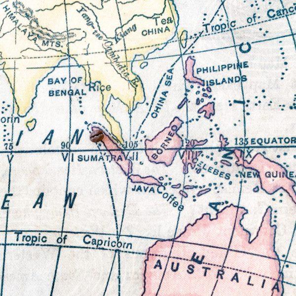 Sumatra coffee beans origin map