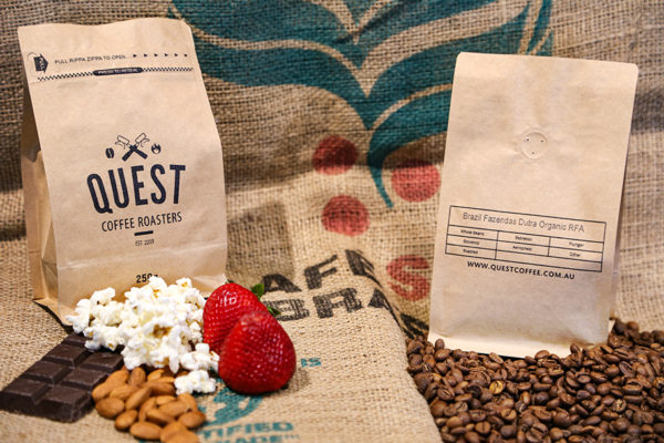 Brazil Fazendas Dutra SO roasted coffee beans with notes of butter popcorn, toasted nuts, dark chocolate, and subtle strawberry