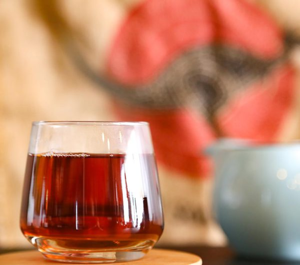 Australian rainforest black tea prepared in glass